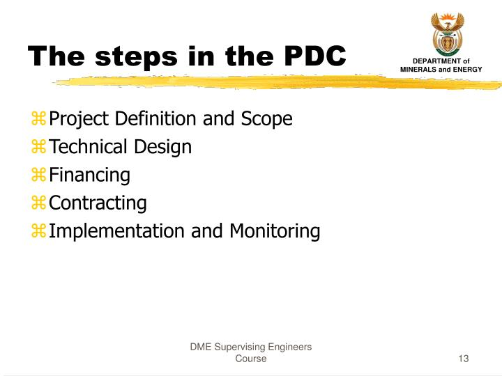 The steps in the PDC
