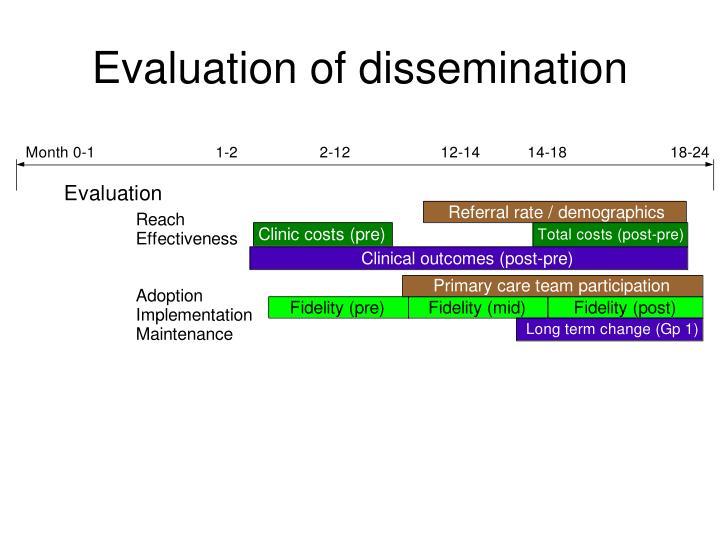 Evaluation of dissemination