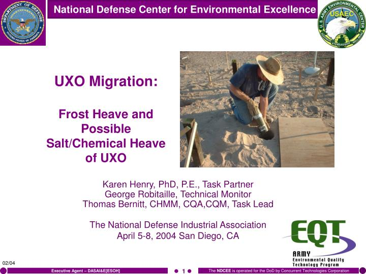 uxo migration frost heave and possible salt chemical heave of uxo n.