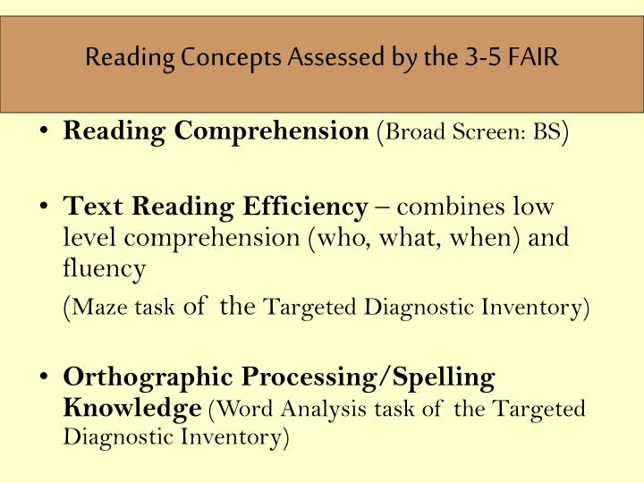 Reading Concepts Assessed by the 3-5 FAIR