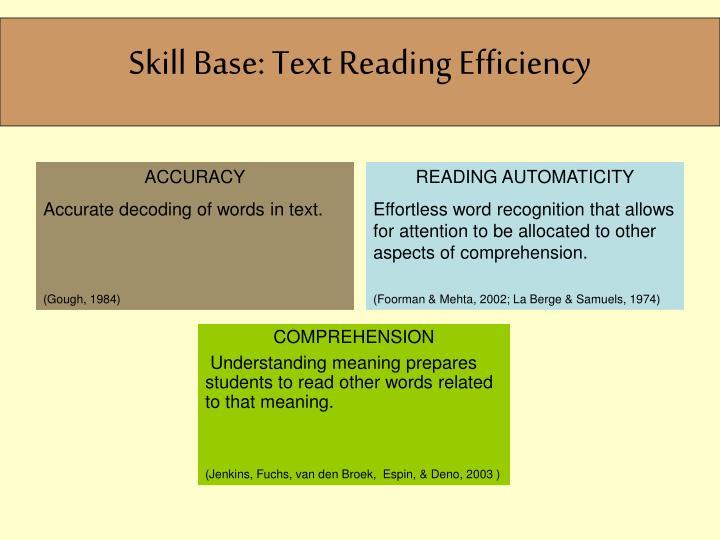 Skill Base: Text Reading Efficiency