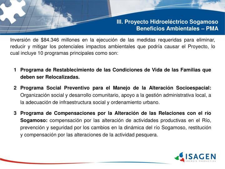 III. Proyecto Hidroeléctrico Sogamoso