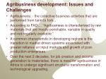 agribusiness development issues and challenges