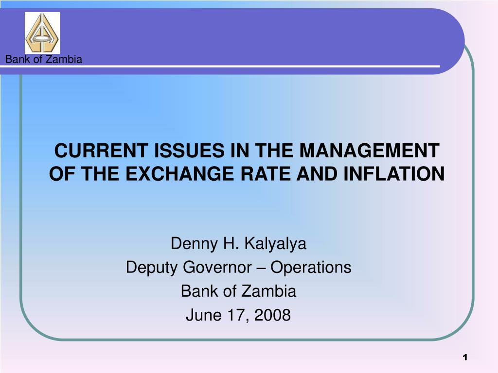 Denny H Kalyalya Deputy Governor Operations Bank Of Zambia June 17 2008 Point Ppt Presentation