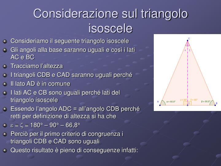 Considerazione sul triangolo isoscele