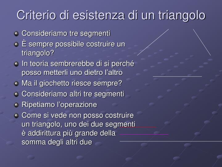 Criterio di esistenza di un triangolo
