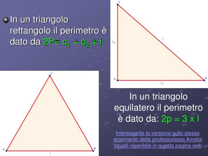 In un triangolo rettangolo il perimetro è dato da