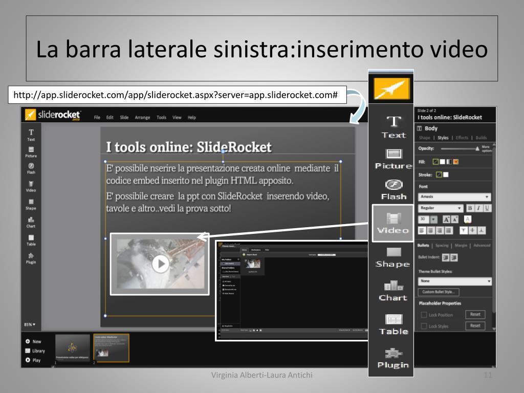 La barra laterale sinistra:inserimento video