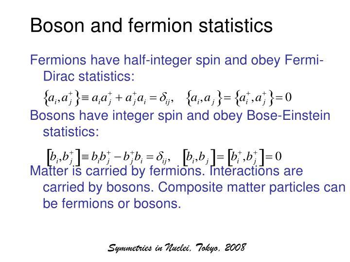 Boson and fermion statistics