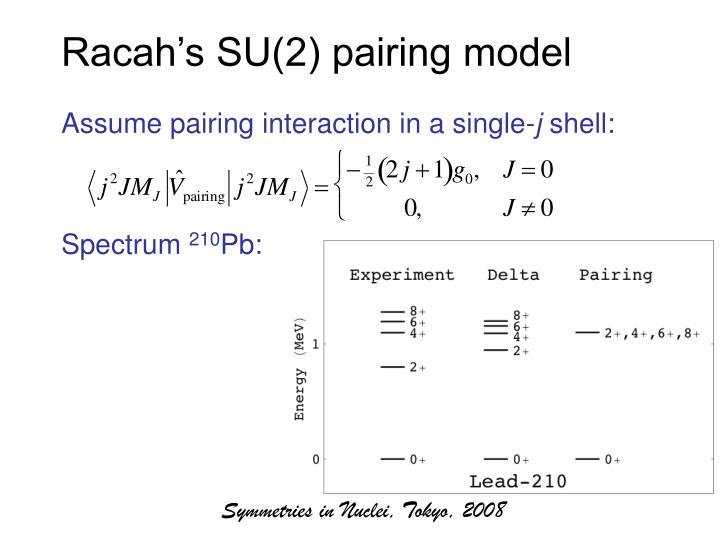 Racah's SU(2) pairing model
