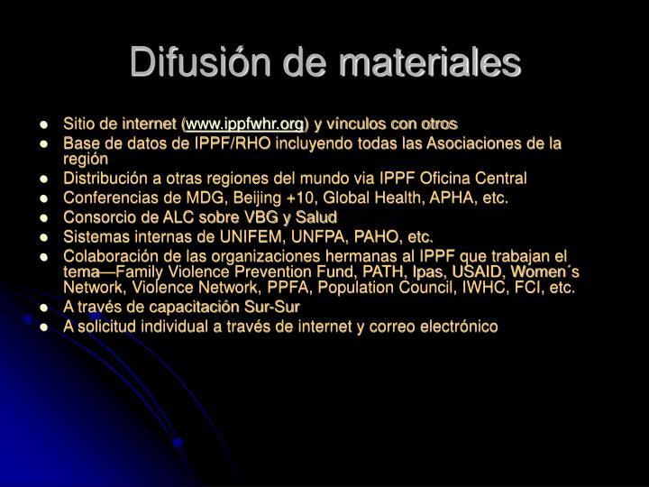 Difusión de materiales