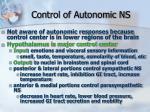 control of autonomic ns