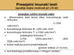 presejalni imunski testi spodnje mejne vrednosti pri 18 let1