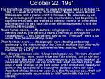 october 22 1961