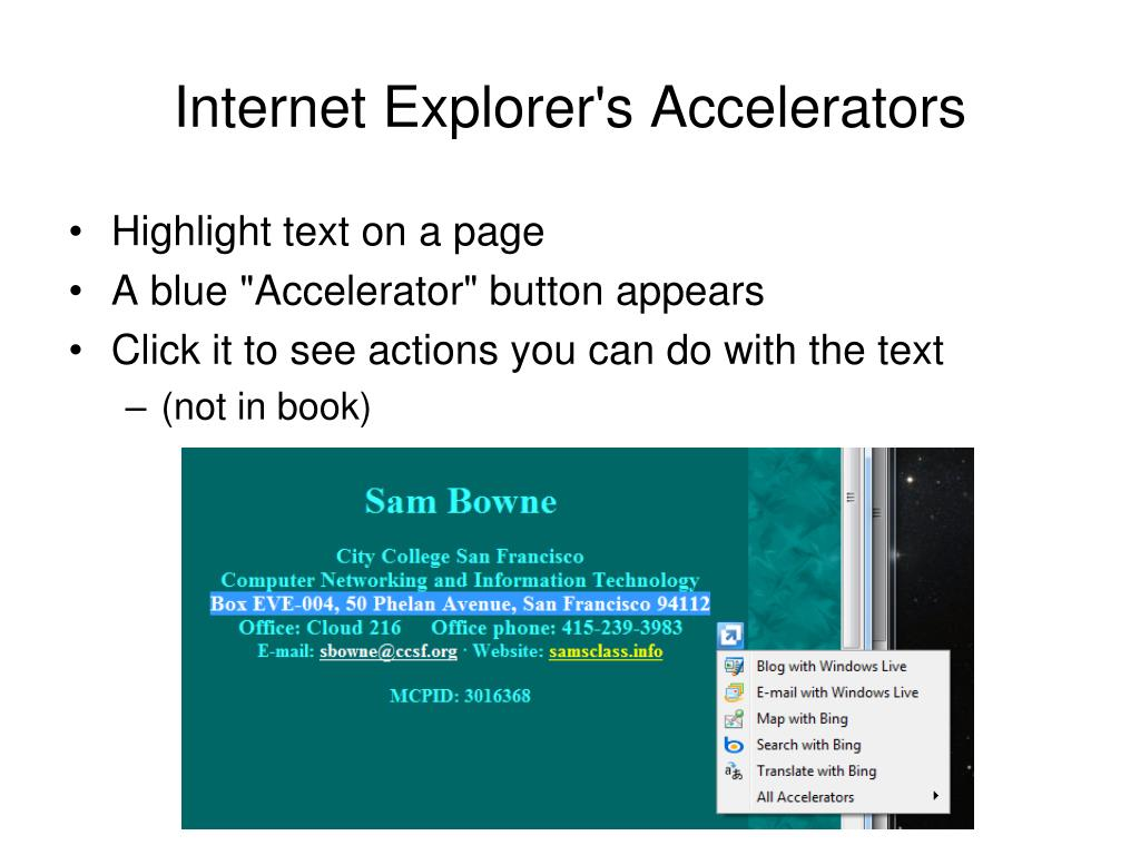 Internet Explorer's Accelerators
