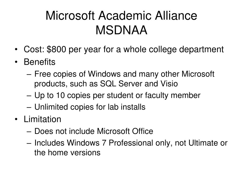 Microsoft Academic Alliance