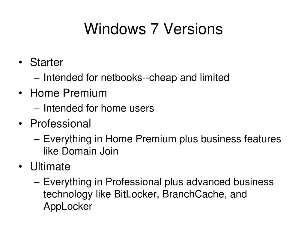 Windows 7 Versions