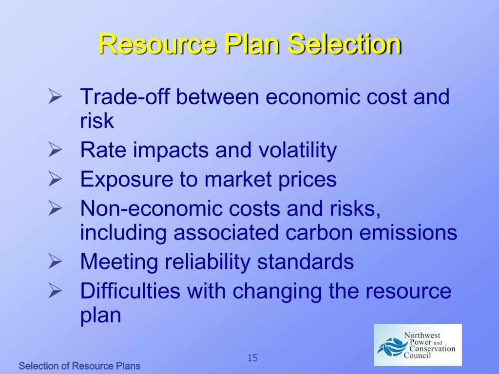Resource Plan Selection
