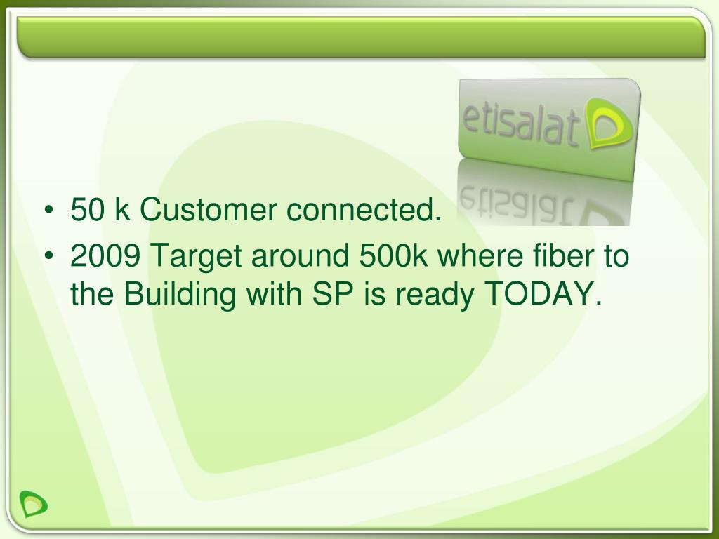 50 k Customer connected.