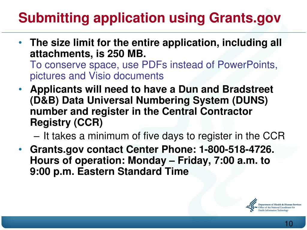 Submitting application using Grants.gov