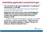 submitting application using grants gov