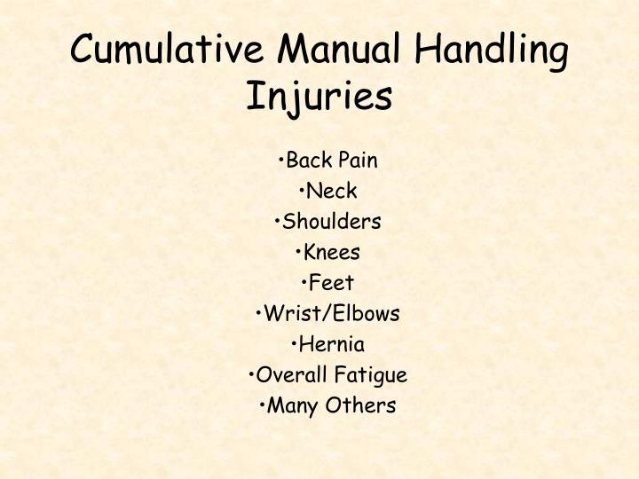 Cumulative Manual Handling Injuries