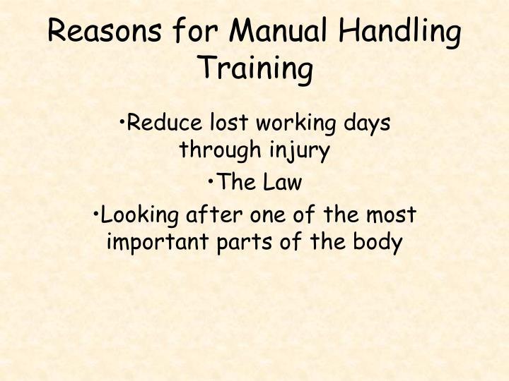 Reasons for Manual Handling Training