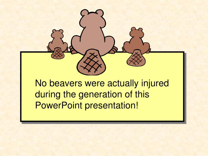 No beavers were actually injured during the generation of this PowerPoint presentation!