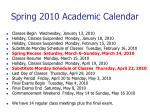 spring 2010 academic calendar