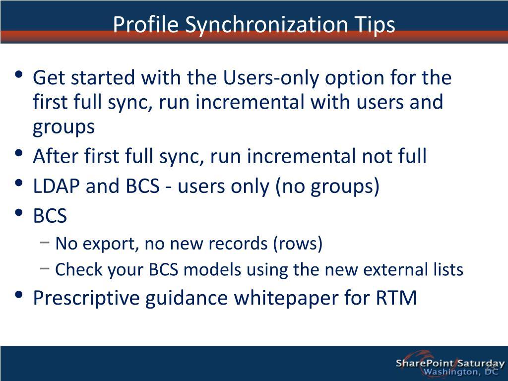 Profile Synchronization