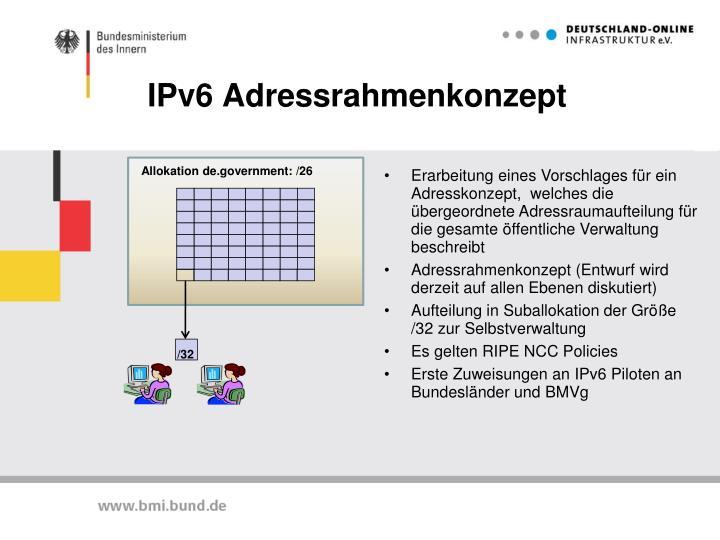 IPv6 Adressrahmenkonzept