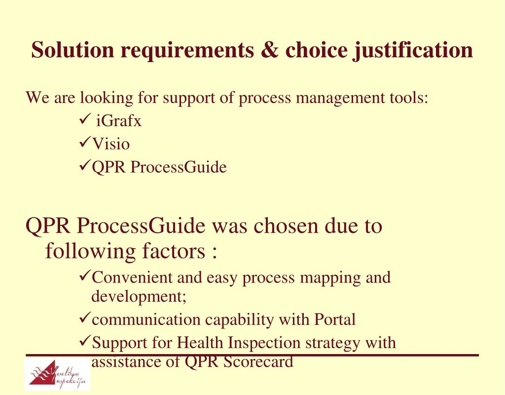 Solution requirements & choice justification