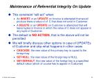 maintenance of referential integrity on update