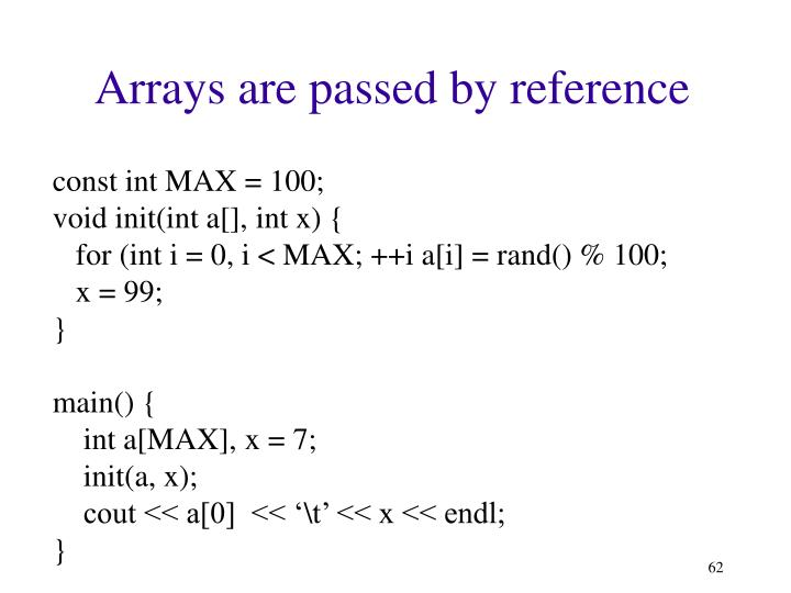 Arrays are passed by reference