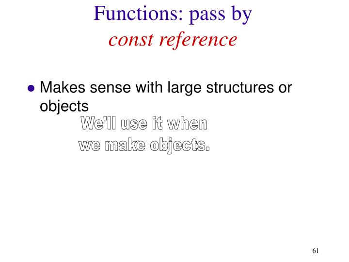 Functions: pass by