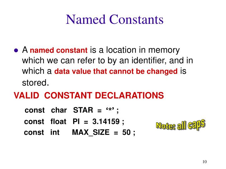 Named Constants