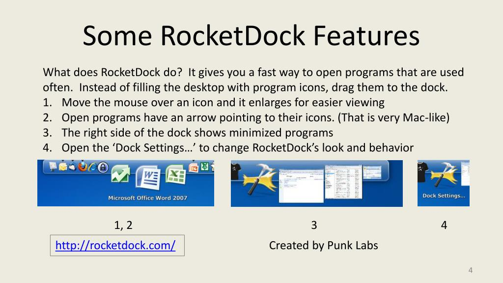 Some RocketDock Features