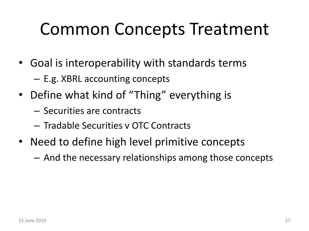 Common Concepts Treatment