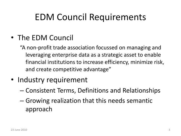 Edm council requirements