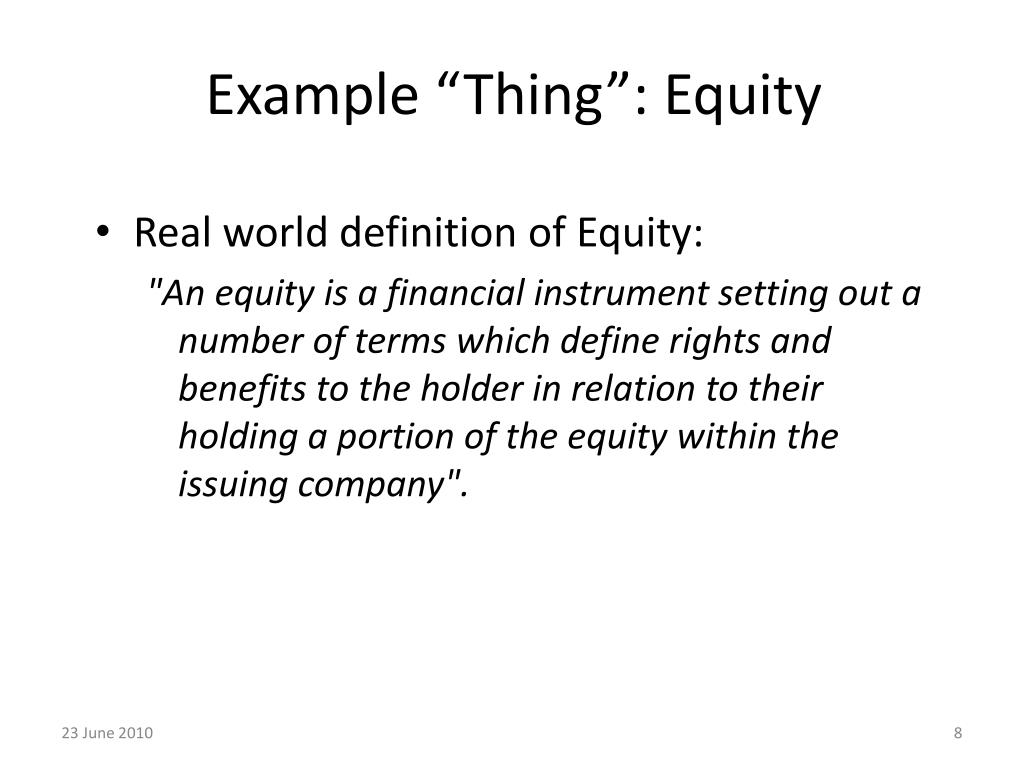 """Example """"Thing"""": Equity"""