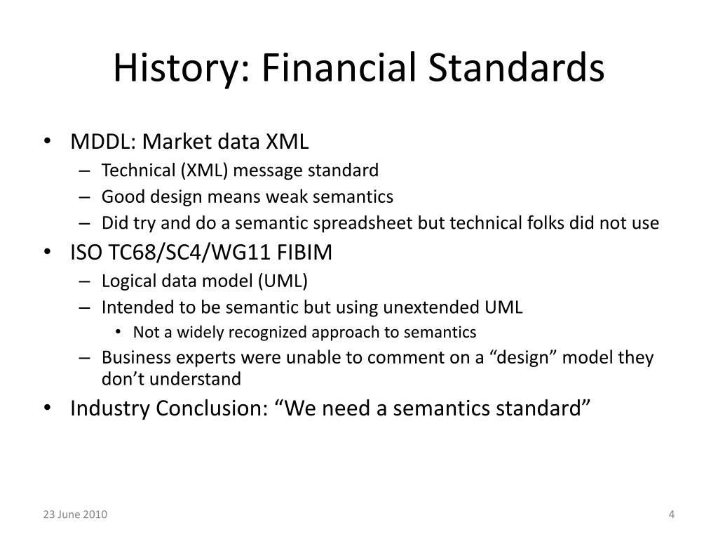 History: Financial Standards