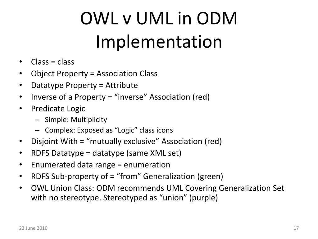OWL v UML in ODM Implementation