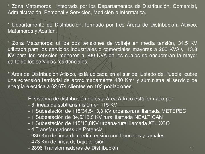 * Zona Matamoros:  integrada por los Departamentos de Distribución, Comercial, Administración, Personal y Servicios, Medición e Informática.