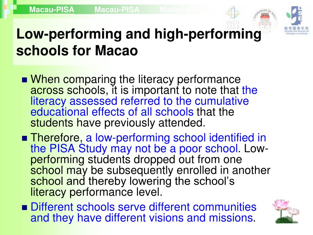 Low-performing and high-performing schools for Macao
