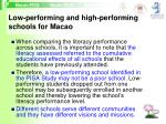 low performing and high performing schools for macao