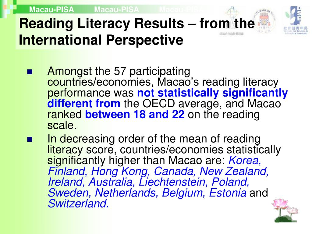 Reading Literacy Results – from the International Perspective