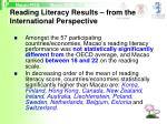 reading literacy results from the international perspective