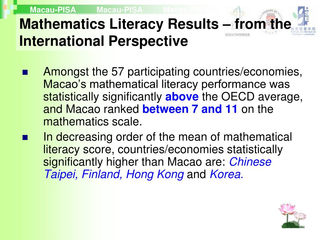 Amongst the 57 participating countries/economies, Macao's mathematical literacy performance was statistically significantly