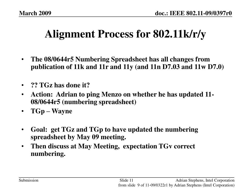Alignment Process for 802.11k/r/y