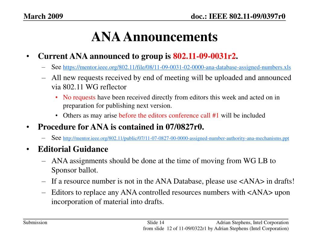 ANA Announcements